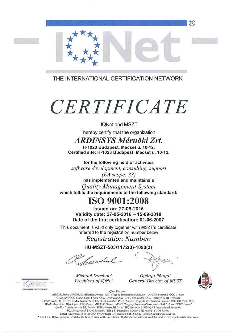 ARDINSYS ISO Certificate IQNET
